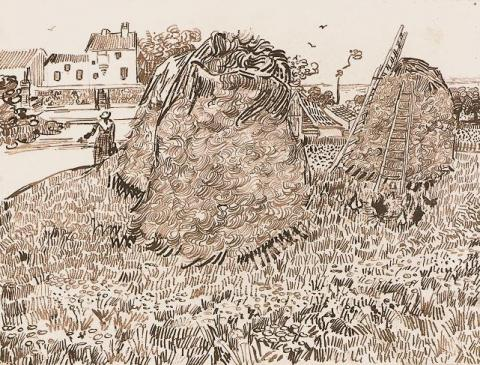 Haystacks near a Farm, Drawing by van Gogh Famous People Tragedies and Triumphs Visual Arts Nineteenth Century Life