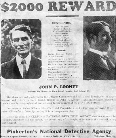 John P. Looney - Reward Poster American History Legends and Legendary People Social Studies Crimes and Criminals
