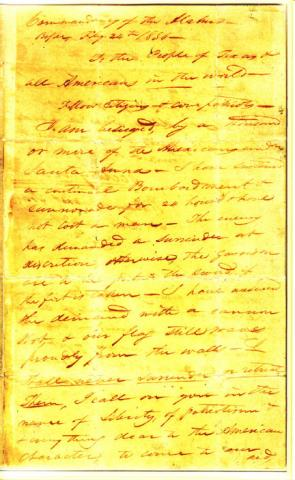 William Travis Letter - Alamo