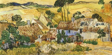 Thatched Cottages by a Hill - July, 1890 Famous People Tragedies and Triumphs Visual Arts Nineteenth Century Life
