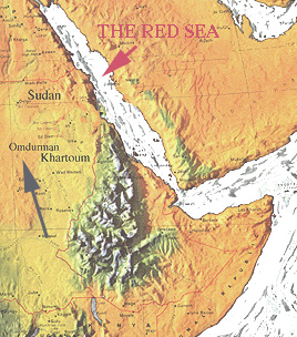 Map Showing Omdurman and Red Sea