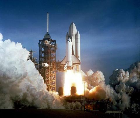 Lift-off of STS-1 - The First Shuttle Flight American History Famous Historical Events Aviation & Space Exploration STEM Tragedies and Triumphs Disasters
