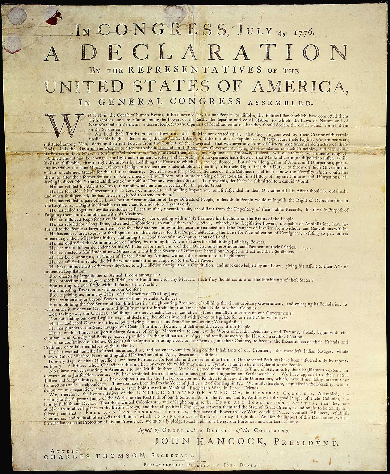 Declaration of Independence: The Printed Text
