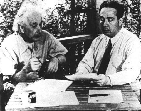 Photograph of Einstein and Leo Szilard taken after world war II in 1946