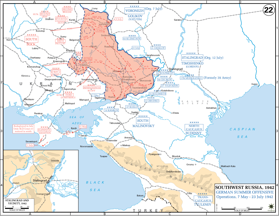 Battle of Stalingrad - Map Locator, Military Positions