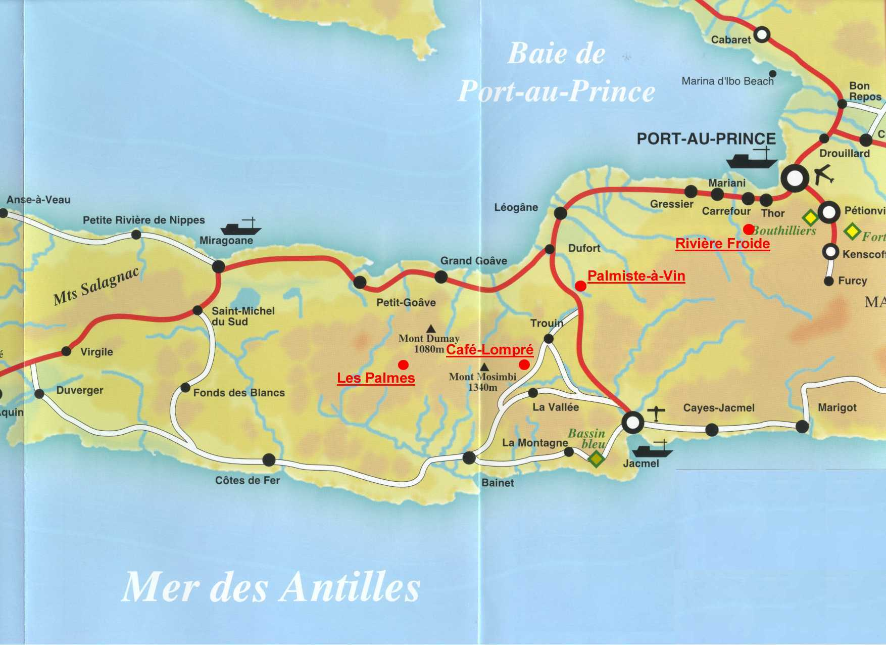Haitian Towns South Of Capital - Haitian map