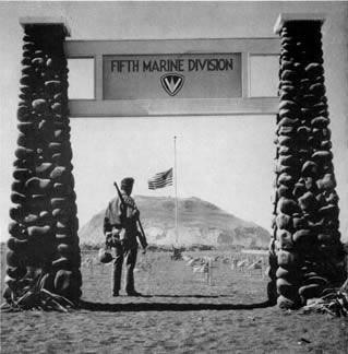 Temporary Cemetery for the Fifth Marine Division