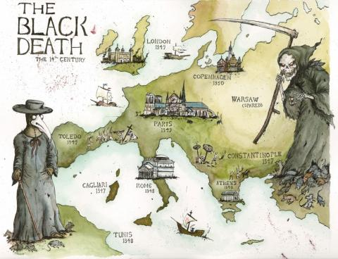 Black Death (Illustration) Famous Historical Events Medieval Times Medicine Social Studies World History Disasters