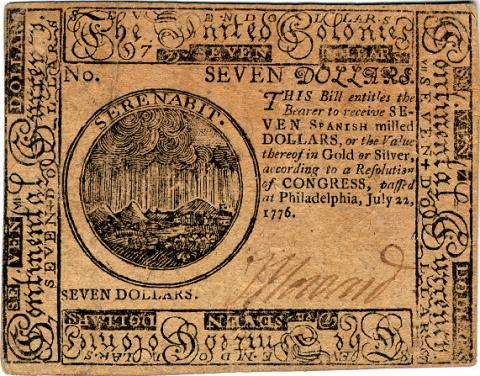 United Colonies Currency-Seven Dollar Bill