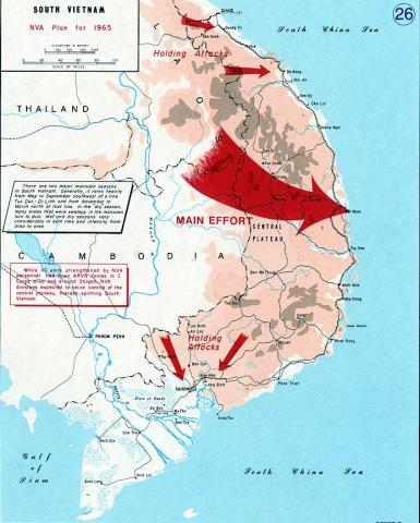 Vietnam - Map Depicting Enemy Operations American History Geography Disasters