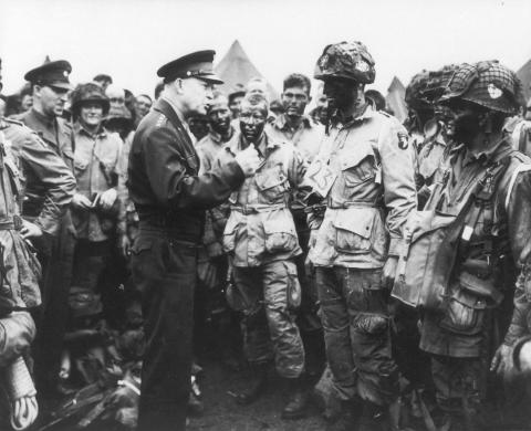General Eisenhower with Paratroopers American Presidents World War II