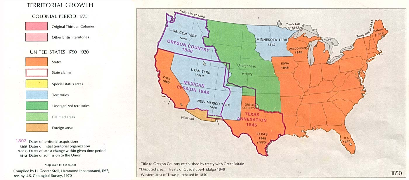 USA Map Military Map Of The United States Territories Library Of - Map us land acquisitions