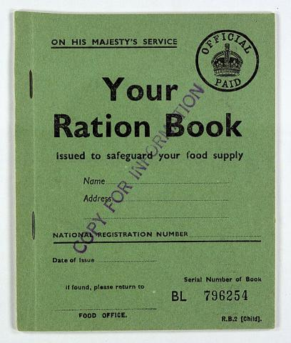 Great Britain: Child Ration Book Education Government Social Studies World War II