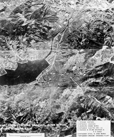 U.S. Military photo depicting an aerial view of Nagasaki before the Bombing