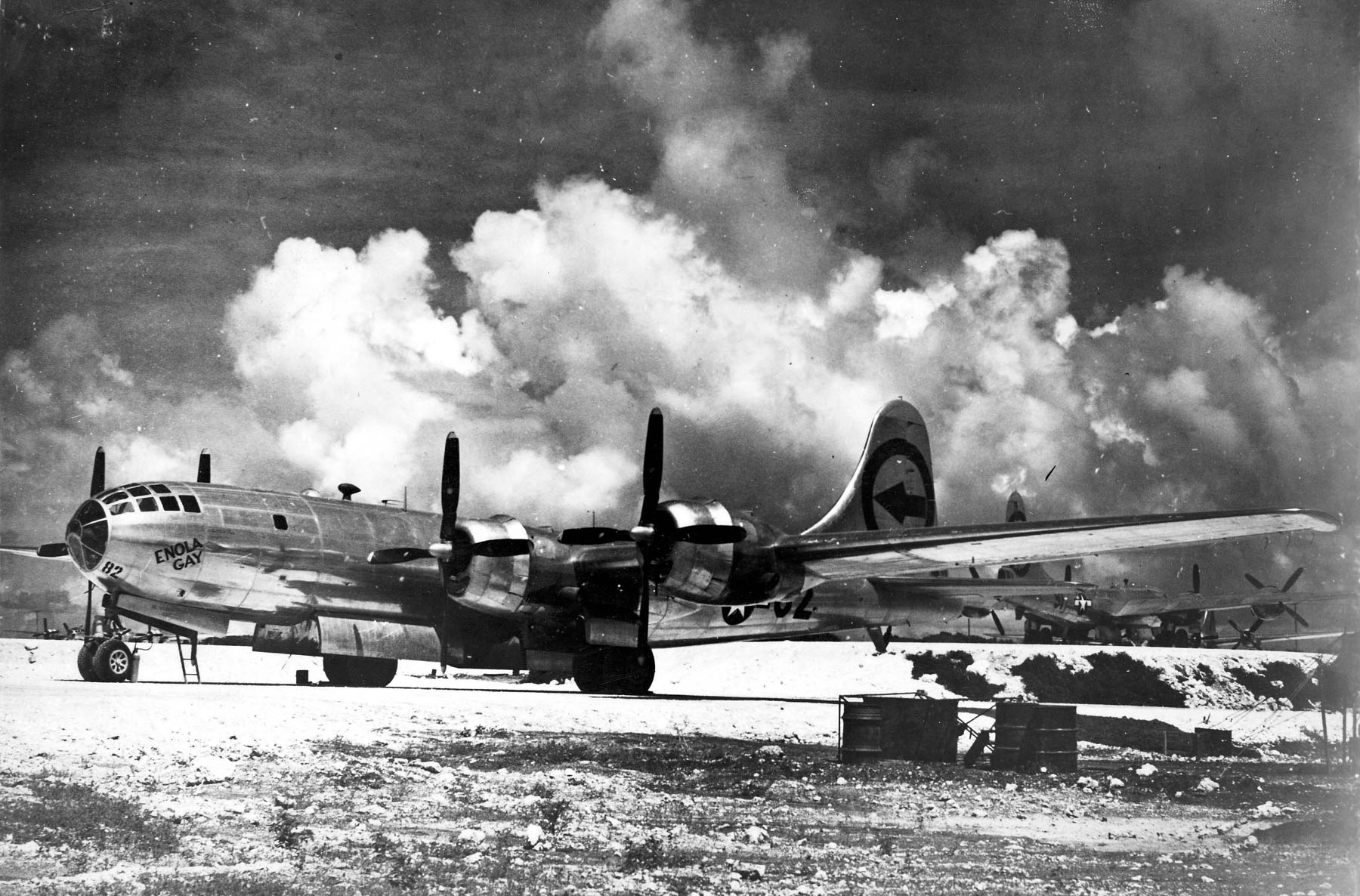 Enola Gay on the Flight Line at Tinian Island in August of 1945