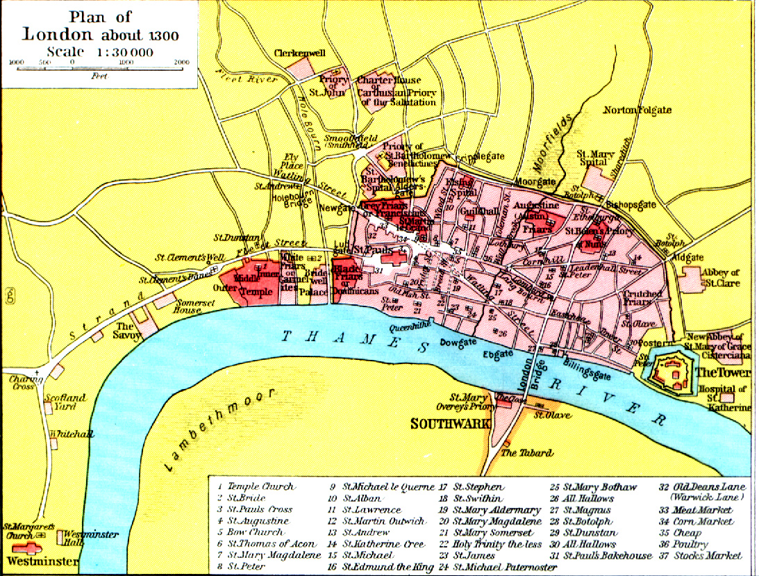 London Area Map from 1300 – Map of London by Area