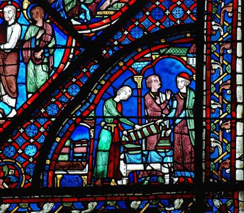 Drapers Scene - Sponsors of Window at Chartres Medieval Times Philosophy Visual Arts