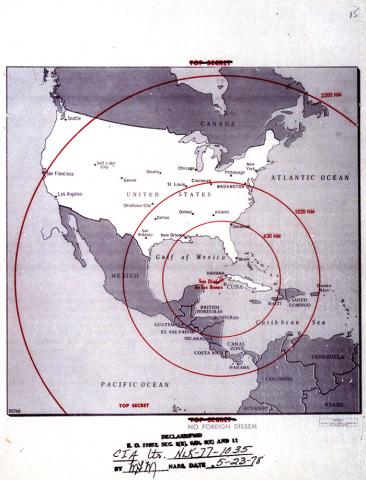 Map deipicting American exposure to Soviet Missiles in Cuba