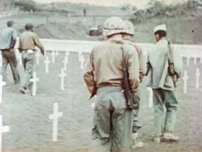 Iwo Jima-Soldiers at Temporary Cemetery