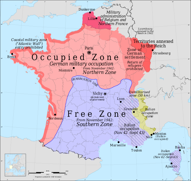 France On The Map Of The World.Occupied And Vichy France