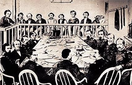 CONSPIRATORS and the MILITARY COMMISSION (Illustration) American History American Presidents Civil Wars Film Social Studies Trials Nineteenth Century Life Crimes and Criminals
