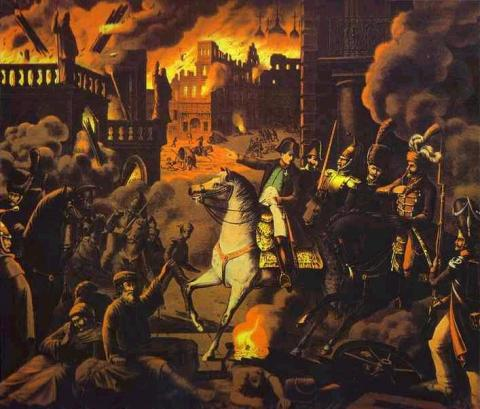 Painting: France Destroying Moscow by Fire