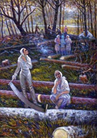 Getman Painting - Female Laborers Forced to Cut Trees Civil Rights Social Studies Tragedies and Triumphs Visual Arts