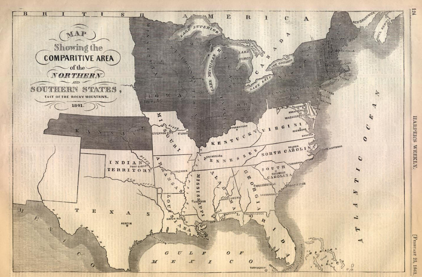 Map of America at the Start of the Civil War