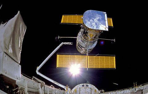 Hubble Reflecting Sunlight at Time of Release Astronomy Education Famous Historical Events Aviation & Space Exploration STEM