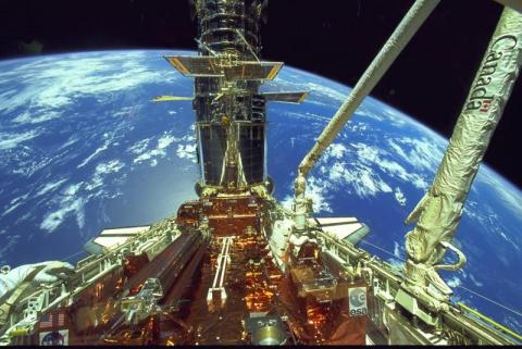 Shuttle Docked with Hubble Aviation & Space Exploration American History STEM Tragedies and Triumphs