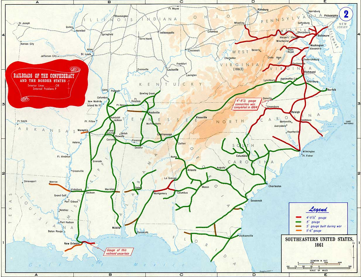 Railroads of the Confederacy and Border States - Map