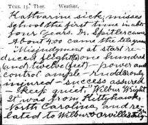 Page from Milton Wright's Diary - Reference to Wilbur's Telegram