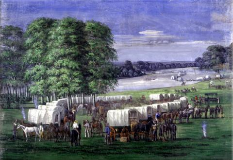 WAGON TRAINS GO WEST (Illustration) Famous Historical Events Government Social Studies Ethics American History Geography Nineteenth Century Life Native-Americans and First Peoples