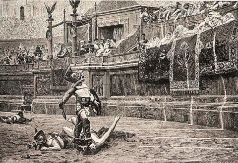 Illustration of the End of a Gladiator's Battle Visual Arts Ancient Places and/or Civilizations Film Legends and Legendary People