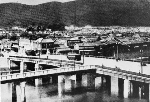 Aioi Bridge at Hiroshima as it appeared before it became the aiming point of an atomic bomb in August of 1945