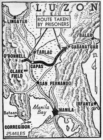 Map Showing San Fernando - Bataan Death March American History World War II Geography