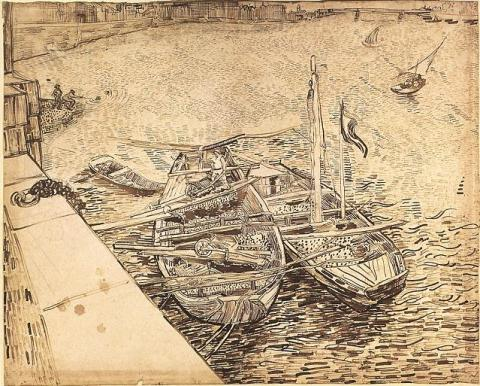 Quay with Men Unloading Sand Barges - van Gogh Famous People Tragedies and Triumphs Visual Arts Nineteenth Century Life