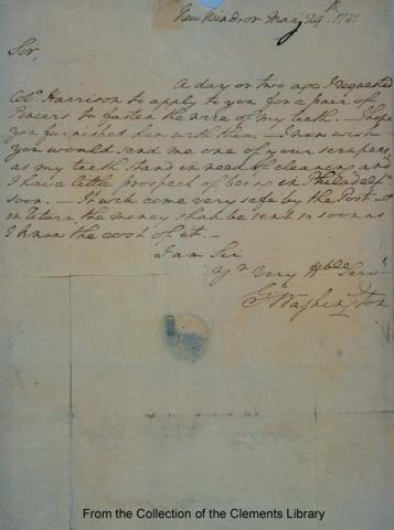Letter from General Washington to His Dentist