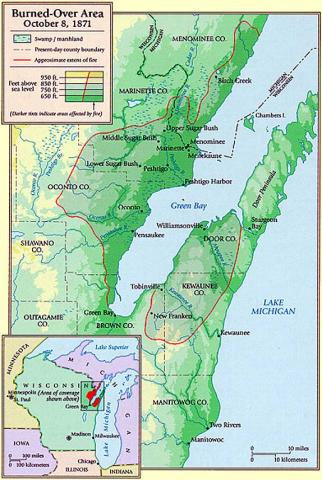 Peshtigo - Map Depicting the Burnt-Over Areas American History Disasters Nineteenth Century Life Geography