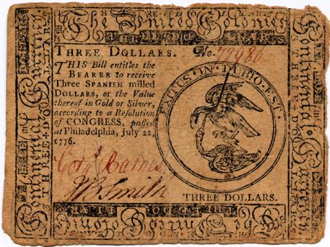United Colonies Currency-Three Dollar Bill
