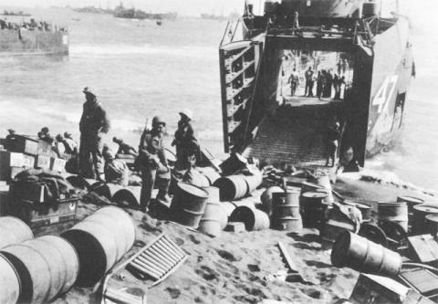 Marines Unloading Supplies in Iwo