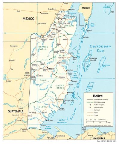 Map - Belize Geography Social Studies