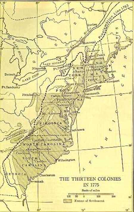 The Thirteen Original Colonies  Map