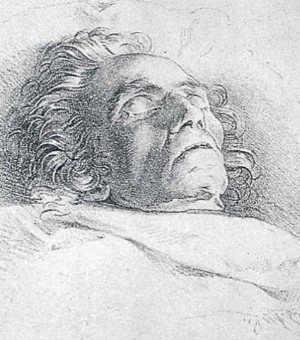 Drawing by Danhauser of Beethoven after death
