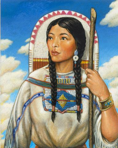 SACAGAWEA: TEEN INTERPRETER (Illustration) Legends and Legendary People American History Famous Historical Events Geography Visual Arts Famous People Native-Americans and First Peoples  Film