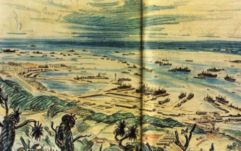 Tanapag Harbor - Drawing of Invasion Vessels American History Tragedies and Triumphs World War II Geography
