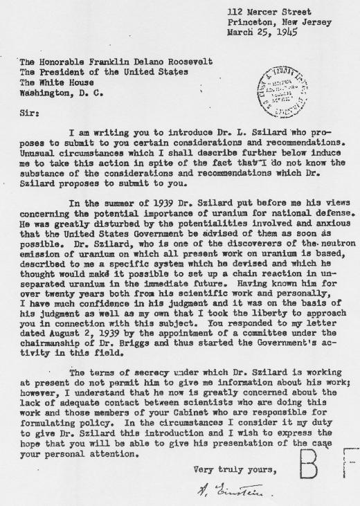 einstein u0026 39 s cautionary letter to president roosevelt