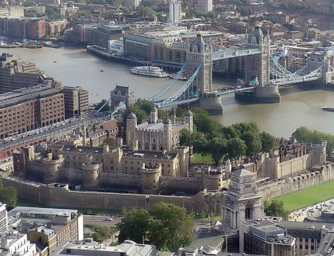 Aerial view of the Tower of London