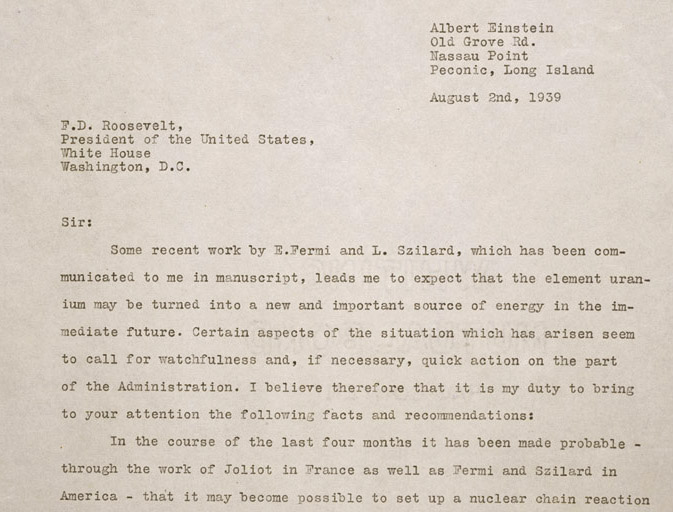 account of albert einsteins letter to president franklin d roosevelt on the creation of the atomic b President franklin d roosevelt when albert einstein wrote the to see president franklin d roosevelt on the national wwii museum blog is.