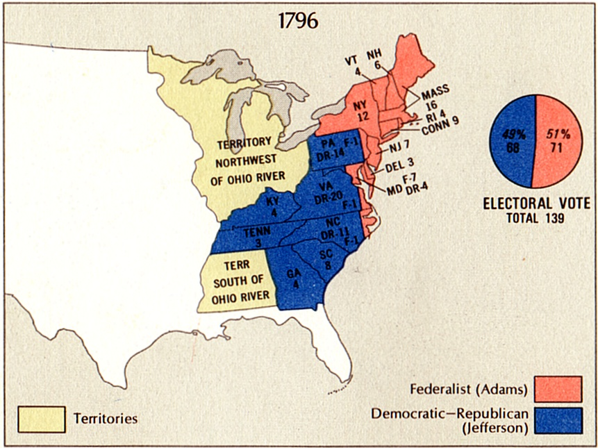 image relating to Electoral Map Printable titled Election of 1796 - Electoral Vote Good results
